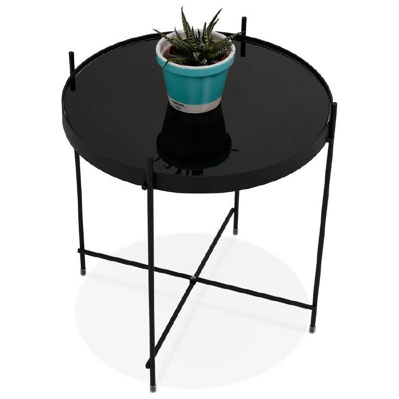 Table D Appoint Pliable Bout De Canape Zoe En Verre Et Metal Noir Tables Basses