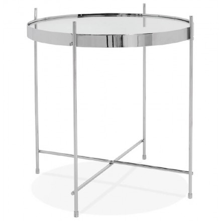 Folding side table, end table ZOE in glass and metal (chrome)