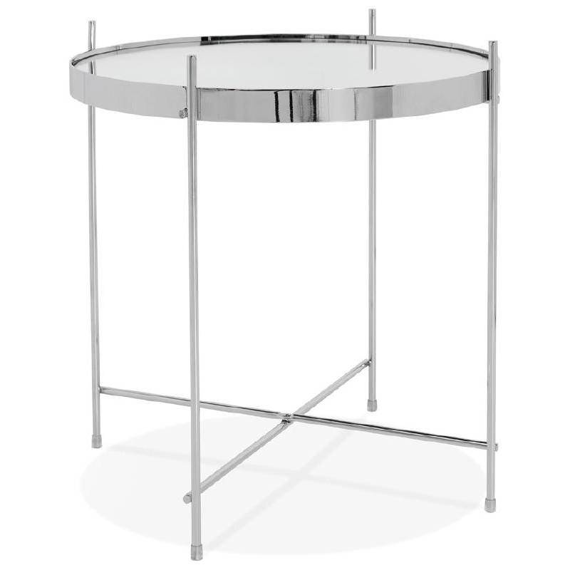Table d'appoint pliable, bout de canapé ZOE en verre et métal (chrome) - image 38714