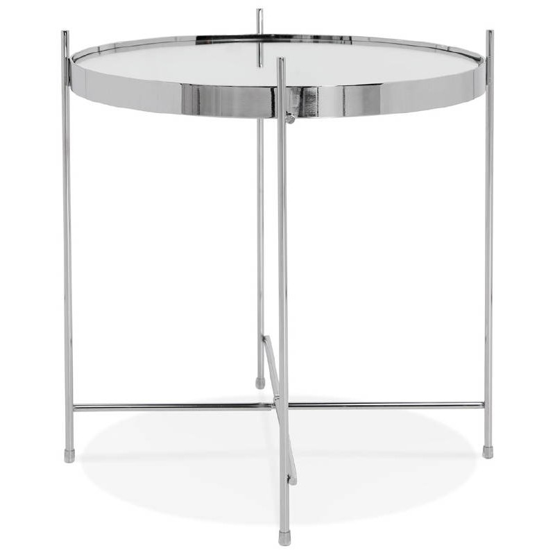 Table d 39 appoint pliable bout de canap zoe en verre et - Bout de canape en verre ...