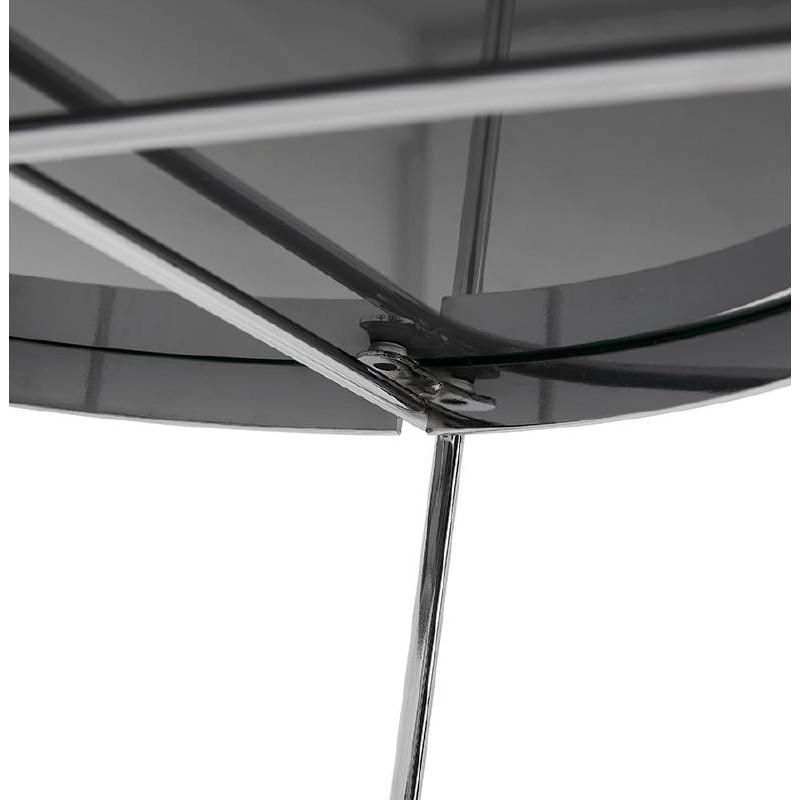 Table d'appoint pliable, bout de canapé ZOE en verre et métal (chrome) - image 38719