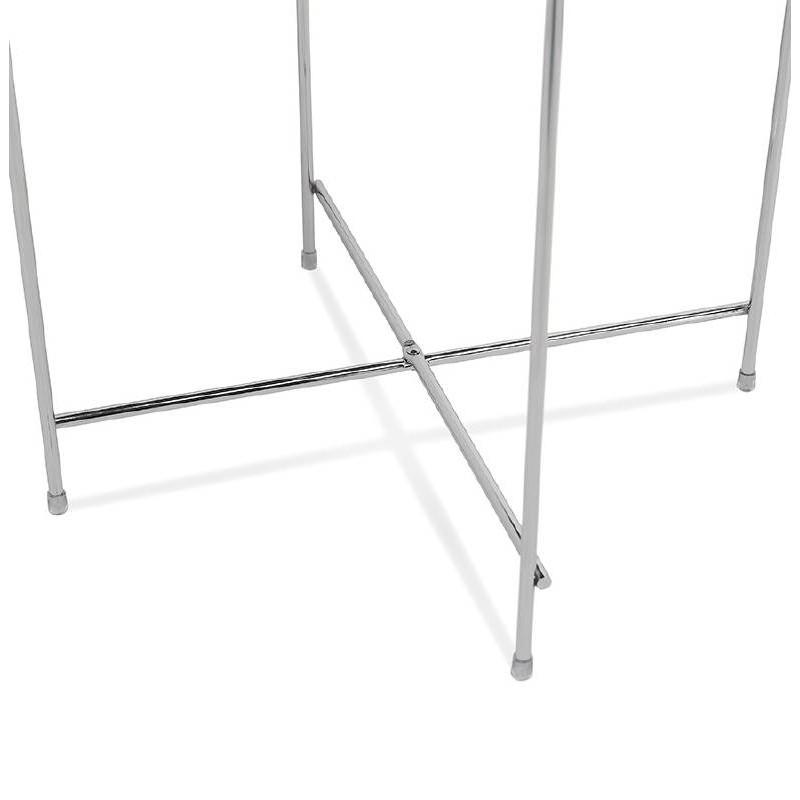Table d'appoint pliable, bout de canapé ZOE en verre et métal (chrome) - image 38720