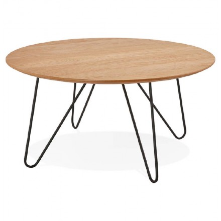 Coffee table design FRIDA wood and metal (natural)