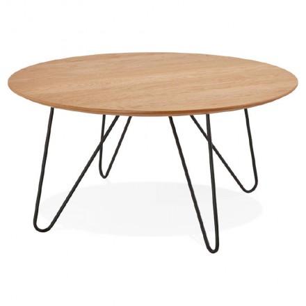Mesa de centro diseño FRIDA madera y metal (natural)