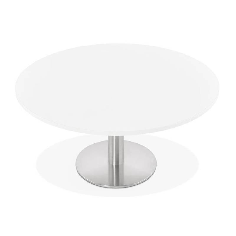 Tavolino design YAEL in metallo spazzolato e legno (bianco) - image 38767
