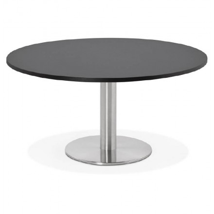 Coffee table design YAEL in wood and brushed metal (black)
