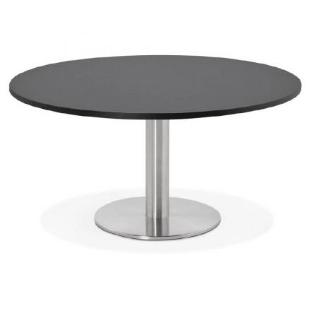Table basse design YAEL en bois et métal brossé (noir)