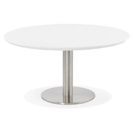 Coffee table design WILLY wood and brushed metal (white)