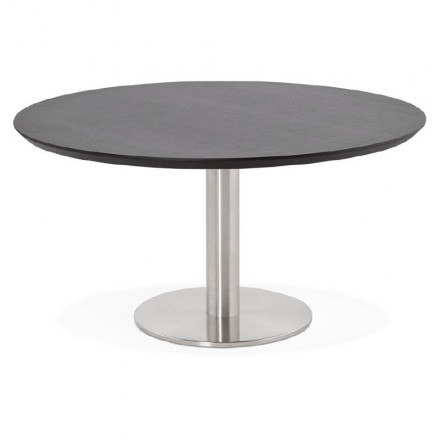 Coffee table design WILLY wood and brushed metal (black)