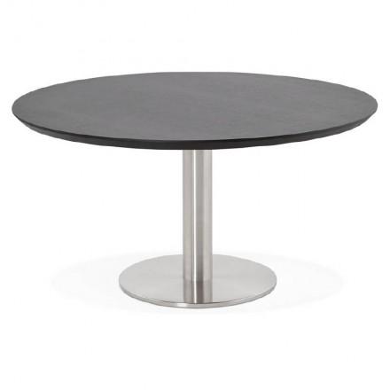 Table basse design WILLY en bois et métal brossé (noir)
