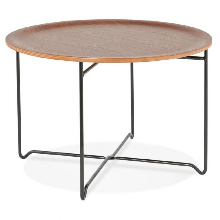 Table low industrial TONY in wood and painted metal (Walnut)