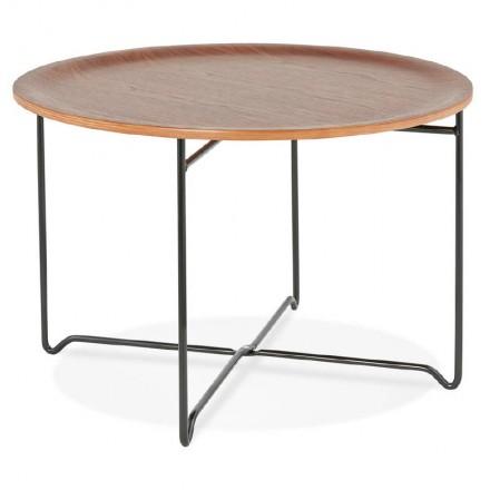 Table basse industrielle TONY en bois et métal peint (noyer)