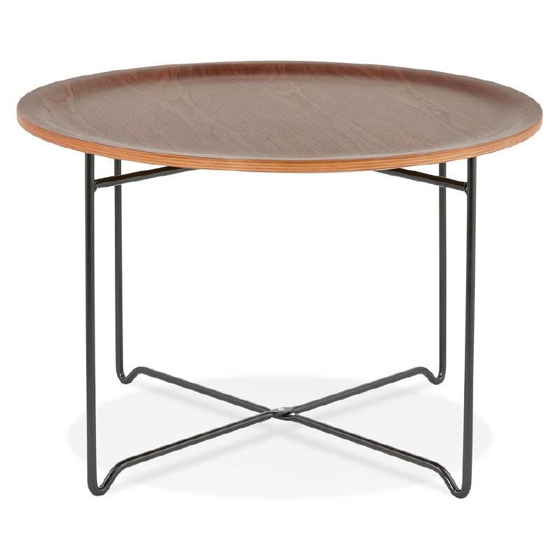 Tisch Niedrig Industrielle Tony In Holz Und Lackierten Metall Nussbaum