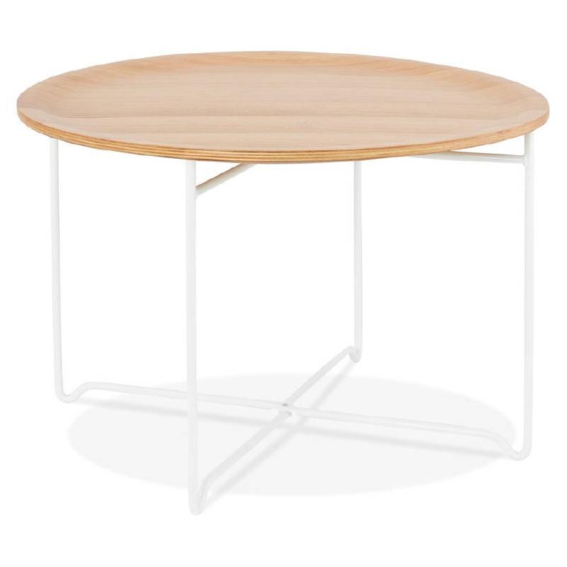 Table basse design TONY en bois et métal peint (chêne naturel) - image 38835
