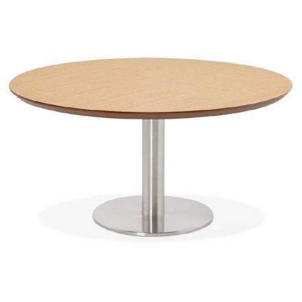 Tavolino design WILLY in legno e metallo spazzolato (rovere naturale)