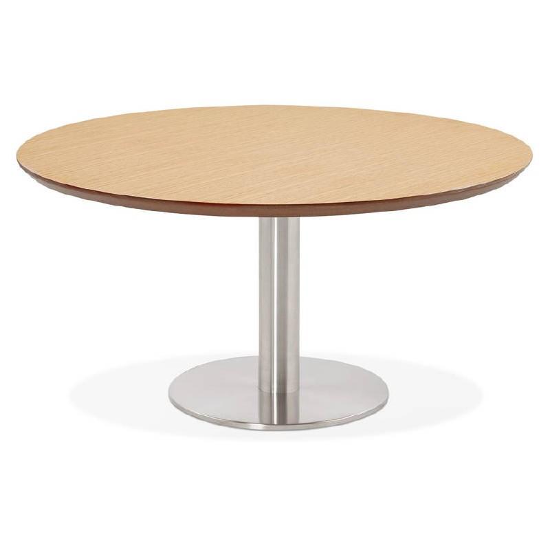 Table basse design WILLY en bois et métal brossé (chêne naturel) - image 38843
