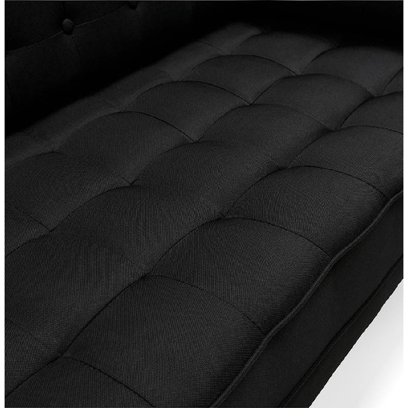Canapé design et rétro capitonné 3 places SOPHIE en tissu (noir) - image 38875