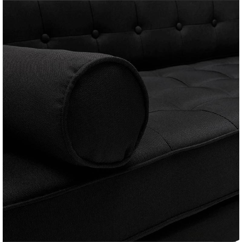 Canapé design et rétro capitonné 3 places SOPHIE en tissu (noir) - image 38877