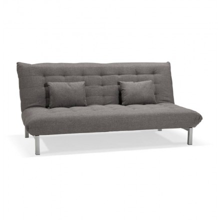 Padded design sofa 2 seater RACHEL fabric (dark gray)