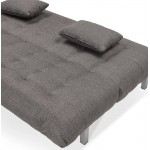 Canapé convertible design capitonné 2 places RACHEL en tissu (gris foncé)