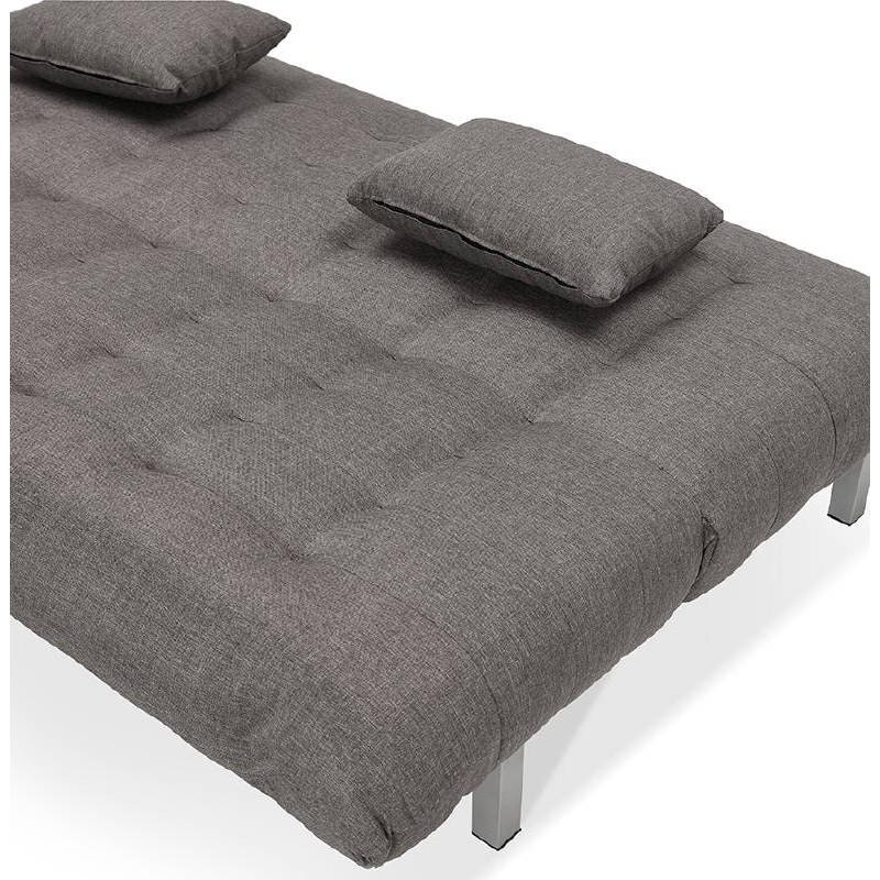 Canapé convertible design capitonné 2 places RACHEL en tissu (gris foncé) - image 38905