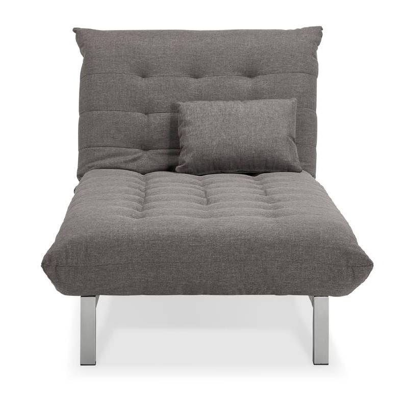 Méridienne convertible design capitonnée RACHEL en tissu (gris foncé) - image 38910