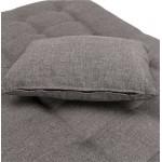Méridienne convertible design capitonnée RACHEL en tissu (gris foncé)