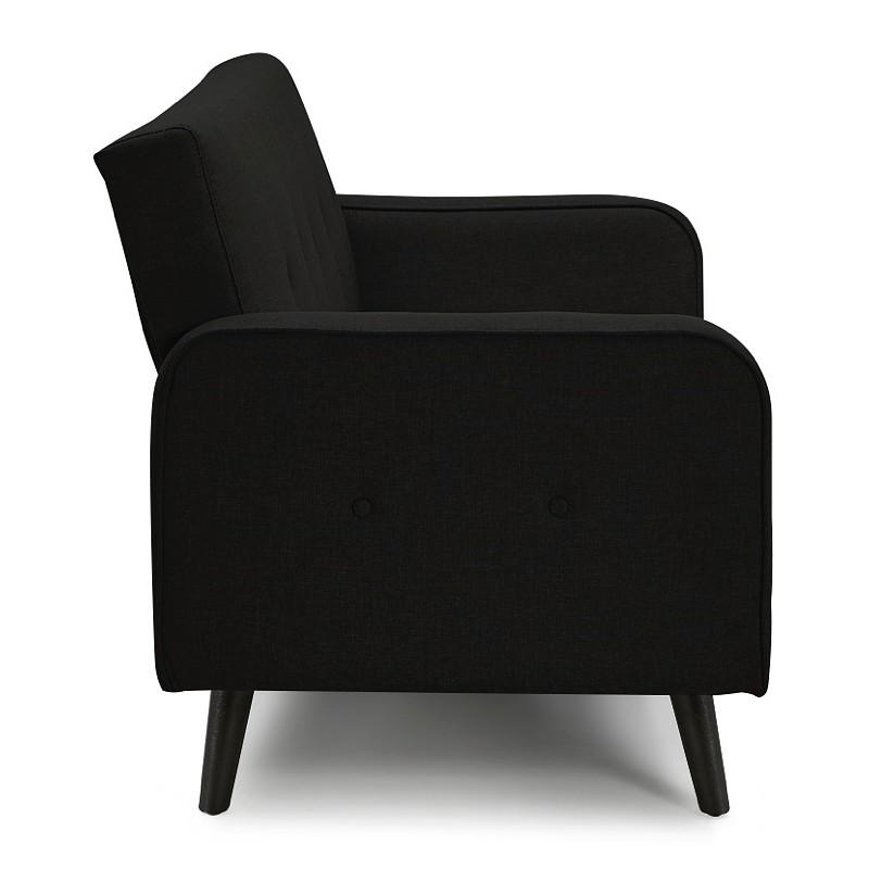 Canapé convertible design capitonné 3 places URSULA en tissu (noir) - image 38931