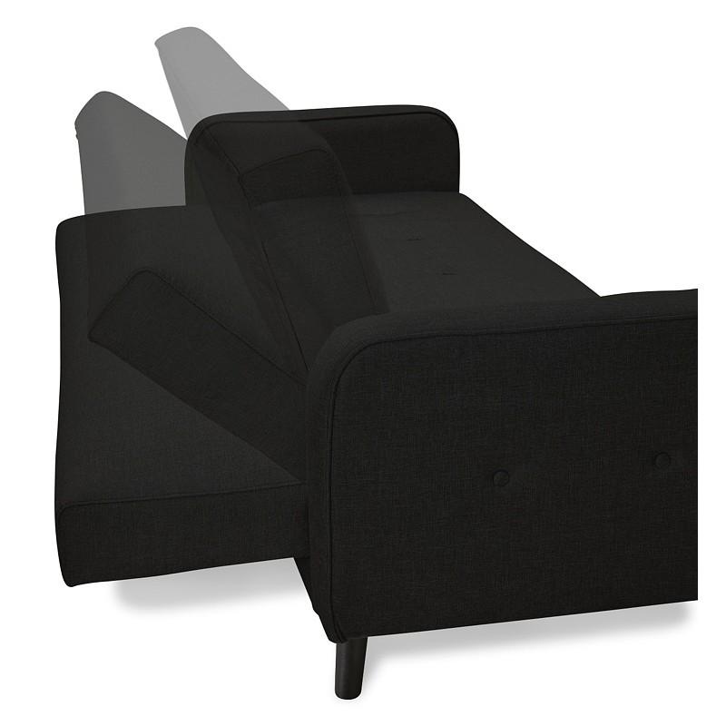 Canapé convertible design capitonné 3 places URSULA en tissu (noir) - image 38935