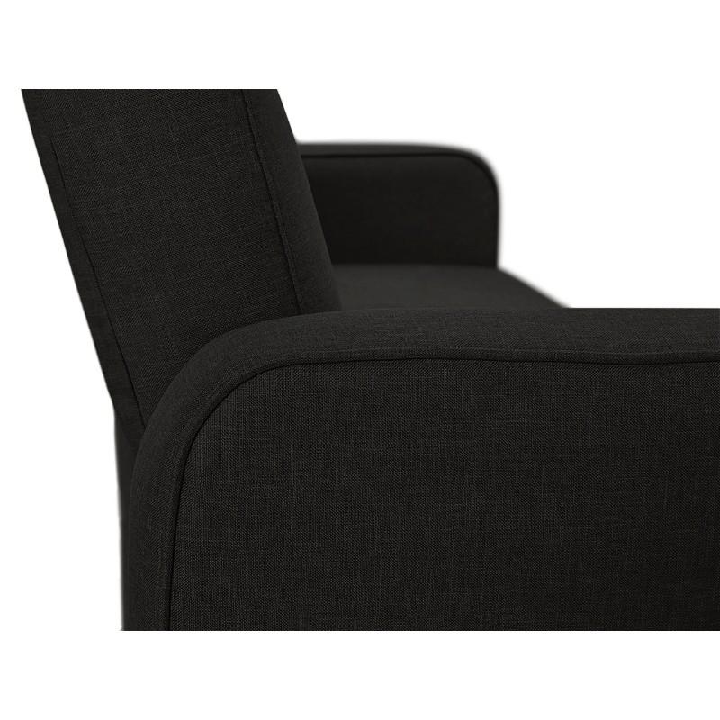 Canapé convertible design capitonné 3 places URSULA en tissu (noir) - image 38937