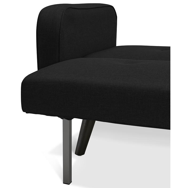 Canapé convertible design capitonné 3 places URSULA en tissu (noir) - image 38945