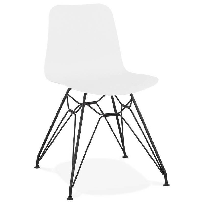 Chaise design et industrielle VENUS en polypropylène pieds métal noir (blanc) - image 39039