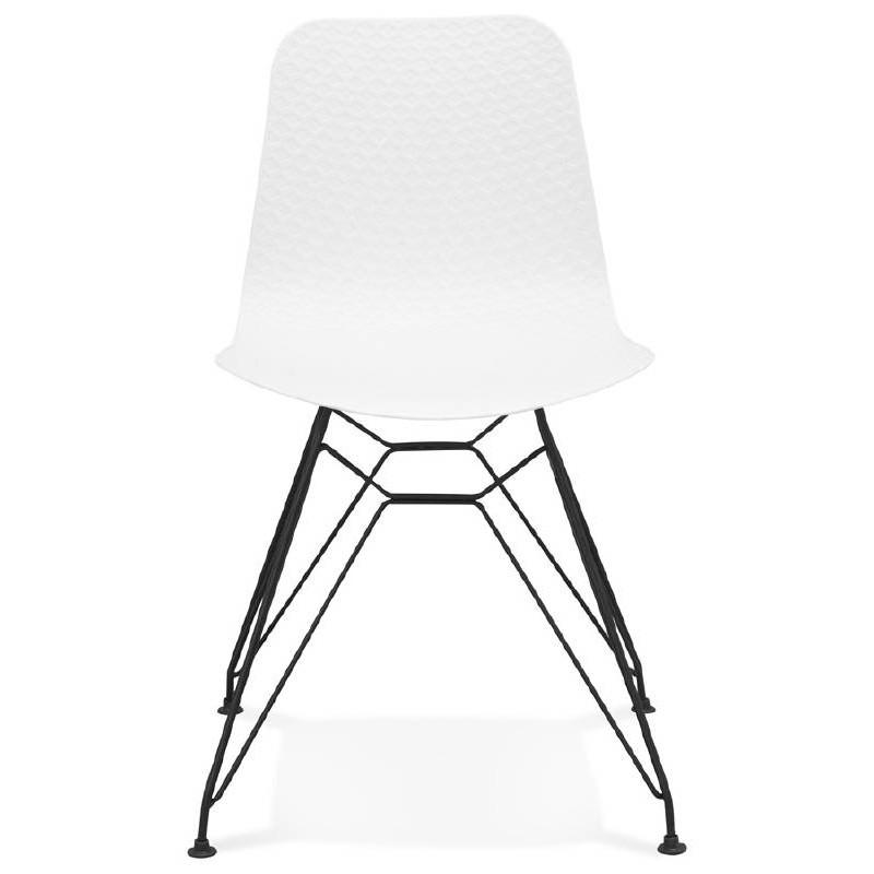 Chaise design et industrielle VENUS en polypropylène pieds métal noir (blanc) - image 39040