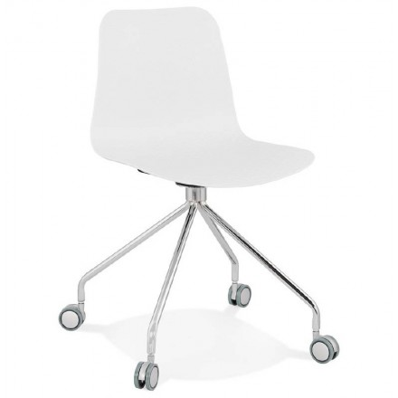Office Chair on wheels JANICE polypropylene feet chrome metal (white)