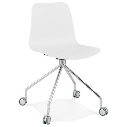 Chaise de bureau sur roulettes JANICE en polypropylène pieds métal chromé (blanc)