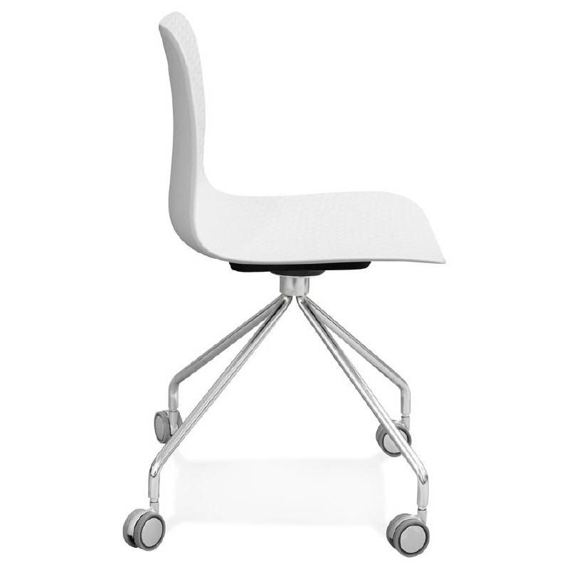 Chaise de bureau sur roulettes JANICE en polypropylène pieds métal chromé (blanc) - image 39051