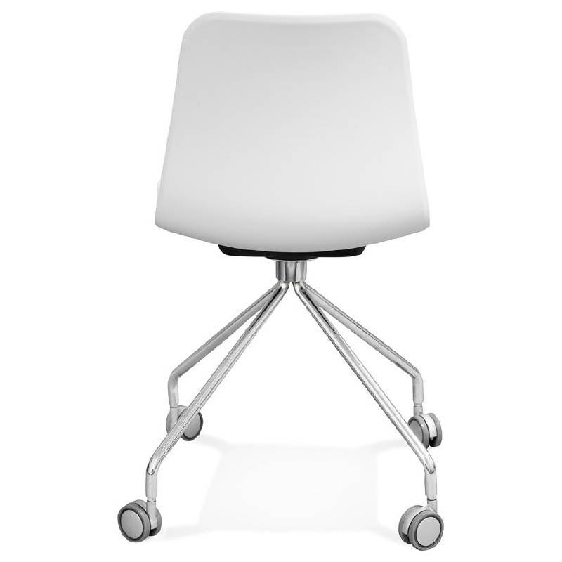 Chaise de bureau sur roulettes JANICE en polypropylène pieds métal chromé (blanc) - image 39052