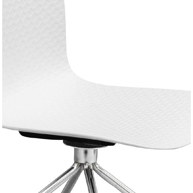 Chaise de bureau sur roulettes JANICE en polypropylène pieds métal chromé (blanc) - image 39054