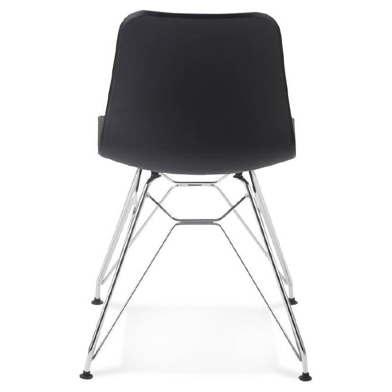 Chaise design et industrielle VENUS en polypropylène pieds métal chromé (noir) - image 39060