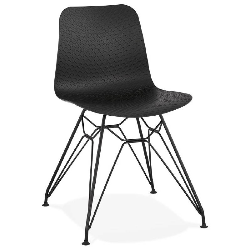 design and industrial chair in polypropylene feet black black metal - Chaise Design Metal