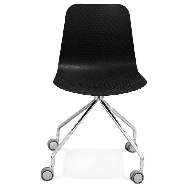 Chaise de bureau sur roulettes JANICE en polypropylène pieds métal chromé (noir) - image 39093