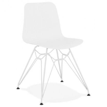 Design e sedia moderna in metallo bianco piedini in polipropilene (bianco)