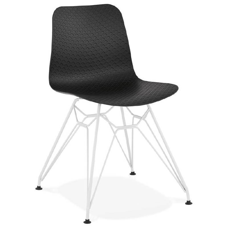 Chaise design et moderne VENUS en polypropylène pieds métal blanc (noir) - image 39108