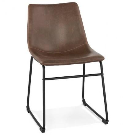Sedia in metallo vintage e industriale JOE black piedi (marrone)