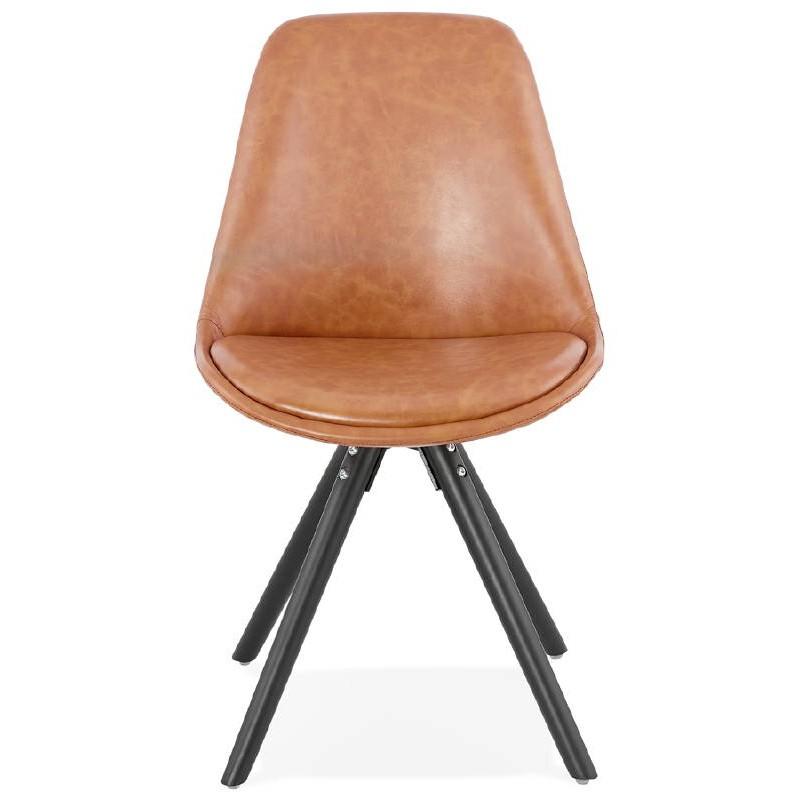 Sedia design e ASHLEY industriale nero piedi (marrone chiaro) - image 39159