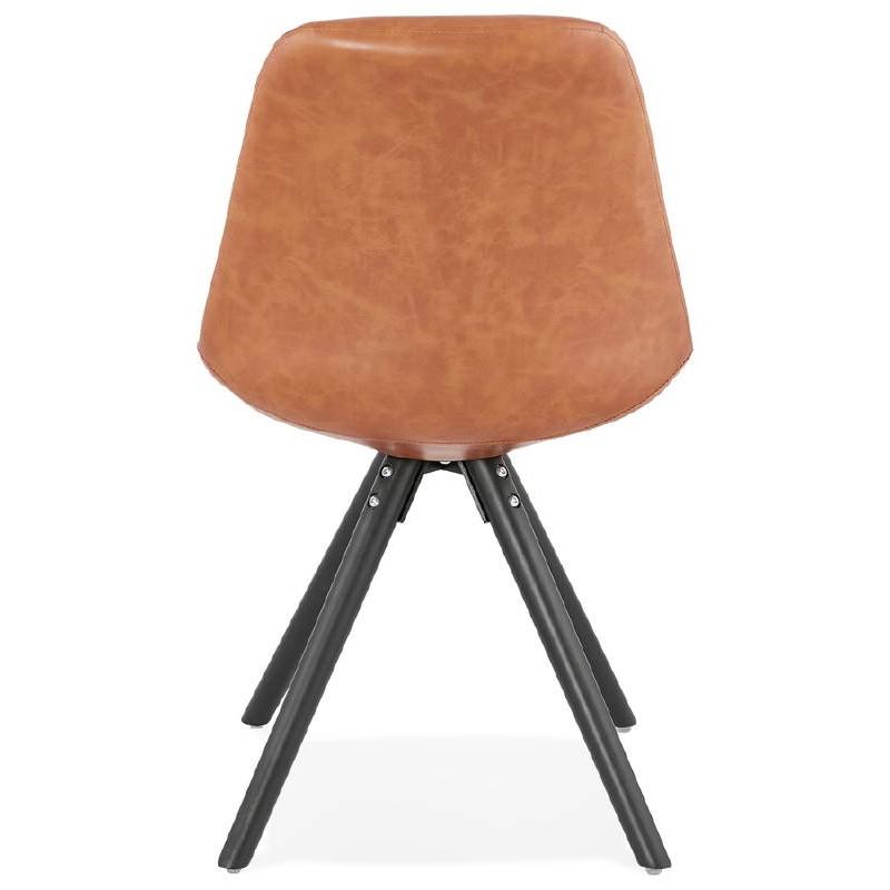 Sedia design e ASHLEY industriale nero piedi (marrone chiaro) - image 39162