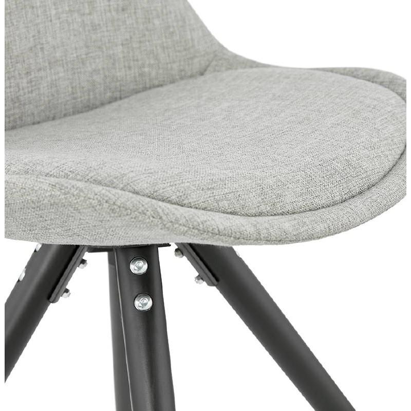 Chaise design ASHLEY en tissu pieds noirs (gris clair) - image 39190