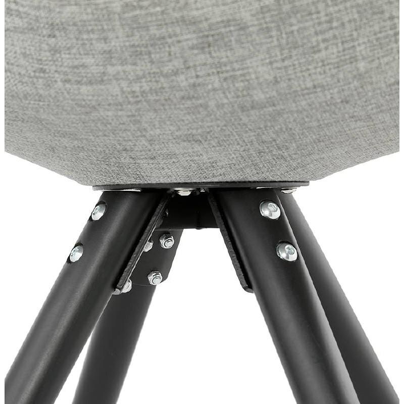 Chaise design ASHLEY en tissu pieds noirs (gris clair) - image 39191