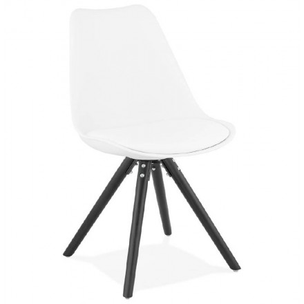 Chaise Design ASHLEY Pieds Noirs Blanc