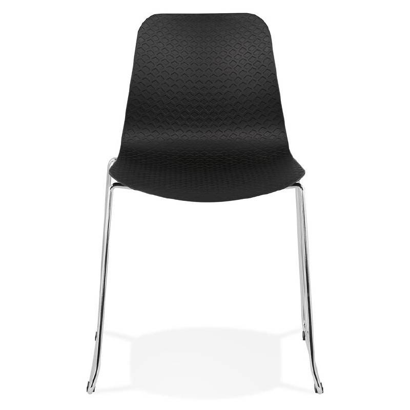 Moderner Stuhl ALIX Fuß verchromt Metall (schwarz) - image 39260